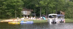 Beach, pontoons from lake